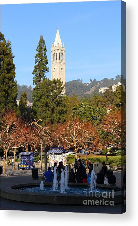 Sproul Acrylic Print featuring the photograph Uc Berkeley . Sproul Plaza . Sather Gate . 7d9998 by Wingsdomain Art and Photography