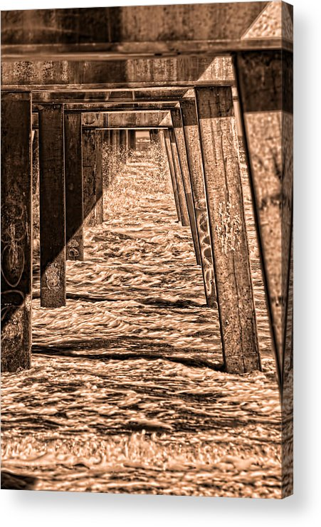 Jacksonville Beach Fishing Pier Acrylic Print featuring the photograph Under The Jacksonville Bridge In Sepia by Frank Feliciano