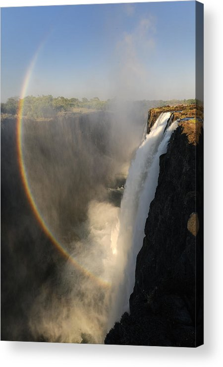 Rainbow At The Victoria Falls Acrylic Print featuring the photograph Victoria Falls by Christian Heeb