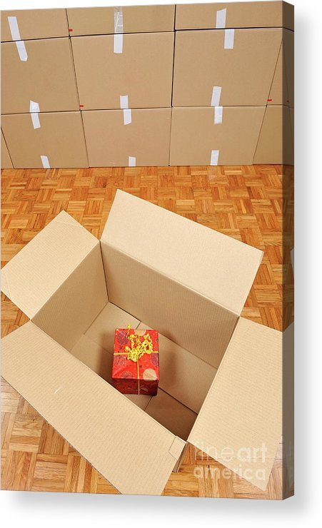 Surprise Acrylic Print featuring the photograph Wrapped Gift Box Inside Cardboard Box by Sami Sarkis