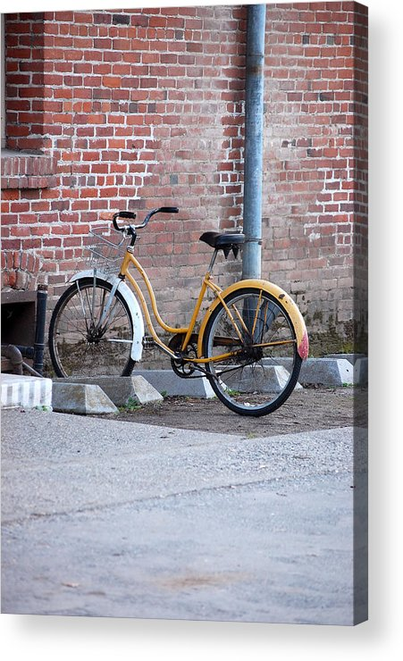 Monk Bicycle Yellow Cruiser Monastery Vina Ca Acrylic Print featuring the photograph Yellow Cruiser by Holly Blunkall