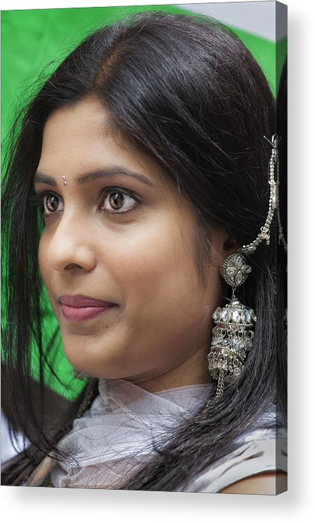 Young Woman Acrylic Print featuring the photograph Young Woman India Day Parade Nyc 2012 by Robert Ullmann