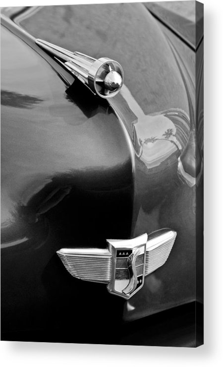 1949 Studebaker Champion Hood Ornament Acrylic Print featuring the photograph 1949 Studebaker Champion Hood Ornament by Jill Reger