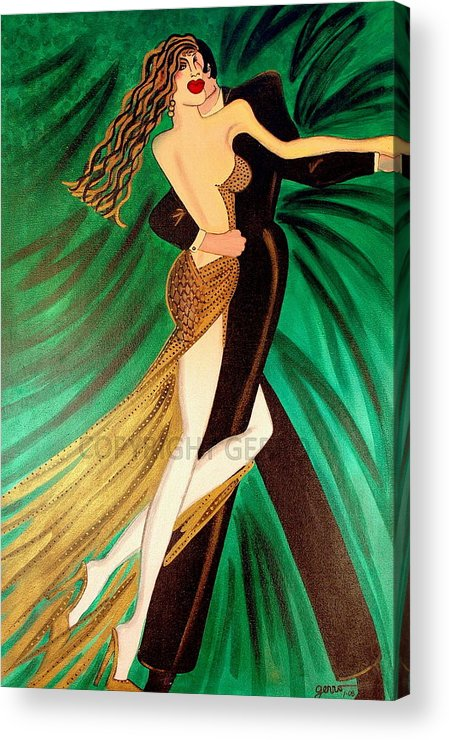 Ballroom Dancers Acrylic Print featuring the painting Ballroom Dancers Champagne Tango by Helen Gerro