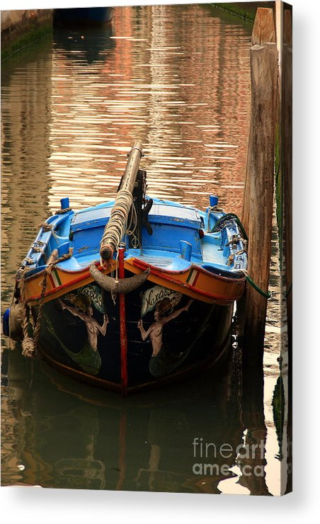 Venice Acrylic Print featuring the photograph Boat On Canal In Venice by Michael Henderson