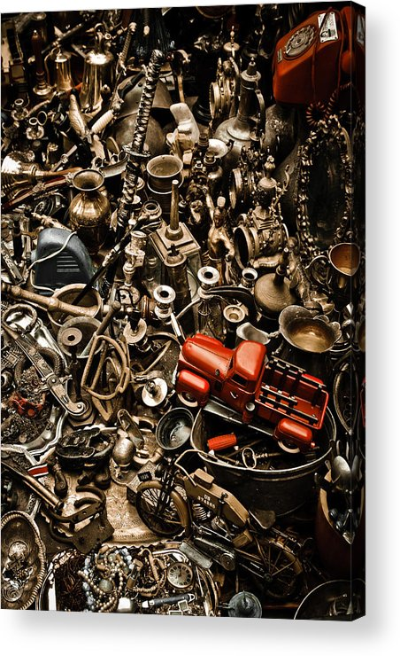 Old; Antique; Vintage; Retro; Background; Style; Art; Decor; Decorating; Decoration; Grunge; Antiquities; Object; Old-fashioned; Classic; Collection; Valuable; Junk; Together; Gathered; Car; Toy; Red; Brown; Chaos; Acrylic Print featuring the photograph Chaos by Gabriela Insuratelu