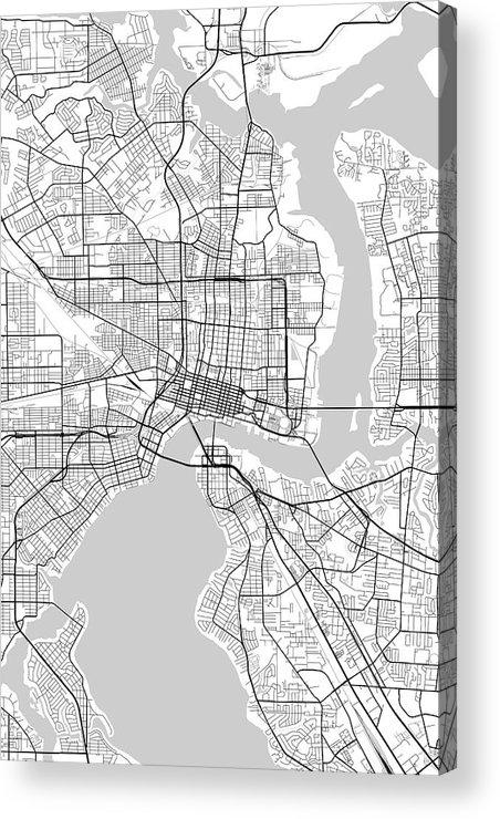 Road Map Acrylic Print featuring the digital art Jacksonville Florida Usa Light Map by Jurq Studio