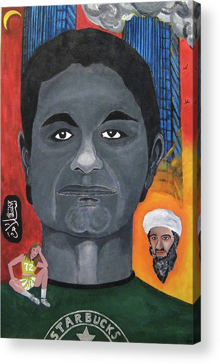 Mohamed Acrylic Print featuring the painting Mohamed Atta by Darren Stein
