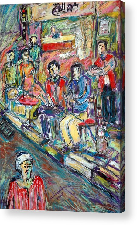 Egyptian People-cofee Shop Acrylic Print featuring the painting Panting by Ibrahim El tanbouli