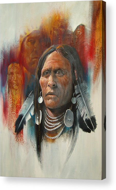 Oil Acrylic Print featuring the painting Plainsman by Robert Carver