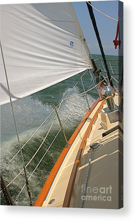 Wave Acrylic Print featuring the photograph Sailboat by Nicola Fiscarelli