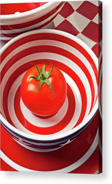 Tomato Acrylic Print featuring the photograph Tomato In Red And White Bowl by Garry Gay