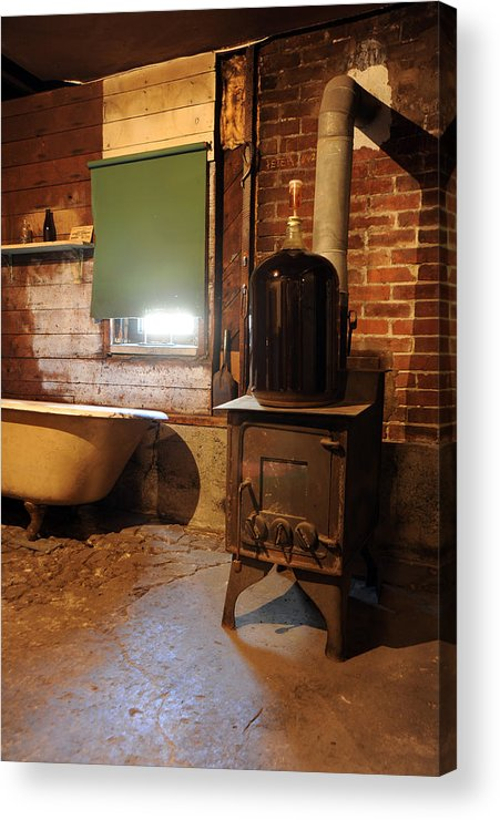 Wood Stove Acrylic Print featuring the photograph West End Basement Brewing by Jason Evans
