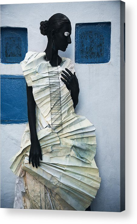 Black Acrylic Print featuring the photograph Woman With Black Boby Paint In Paper Dress by Veronica Azaryan