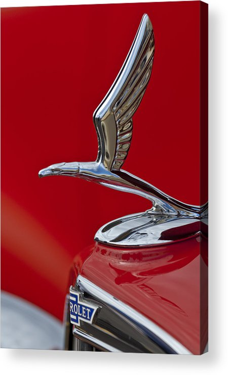 1933 Chevrolet Coupe Acrylic Print featuring the photograph 1933 Chevrolet Coupe Hood Ornament 2 by Jill Reger