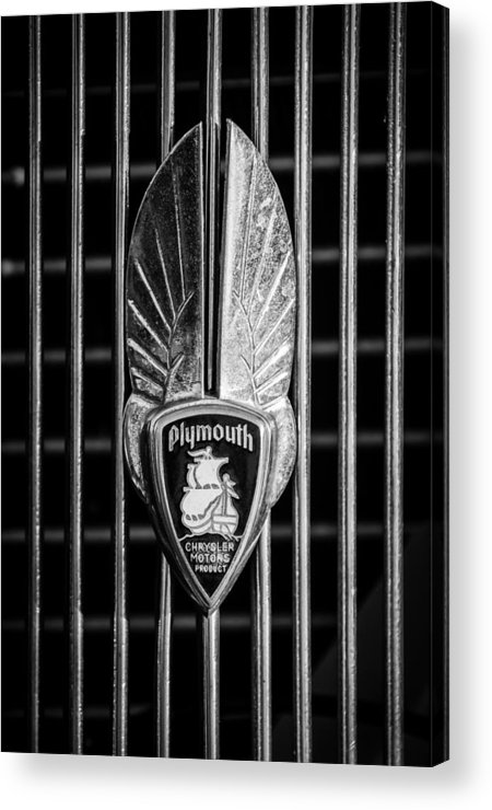 1934 Plymouth Acrylic Print featuring the photograph 1934 Plymouth Emblem 2 by Jill Reger