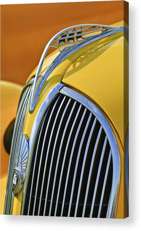 1937 Plymouth Acrylic Print featuring the photograph 1937 Plymouth Hood Ornament 2 by Jill Reger