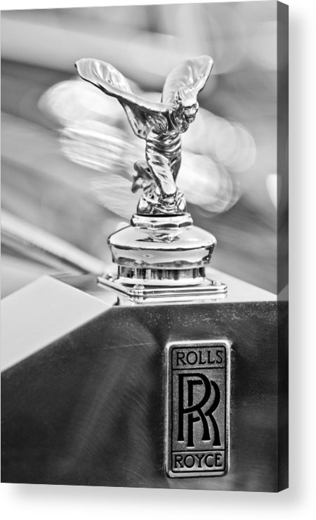 1952 Rolls-royce Acrylic Print featuring the photograph 1952 Rolls-royce Silver Wraith Hood Ornament 2 by Jill Reger