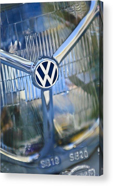 1956 Volkswagen Vw Bug Acrylic Print featuring the photograph 1956 Volkswagen Vw Bug Head Light by Jill Reger