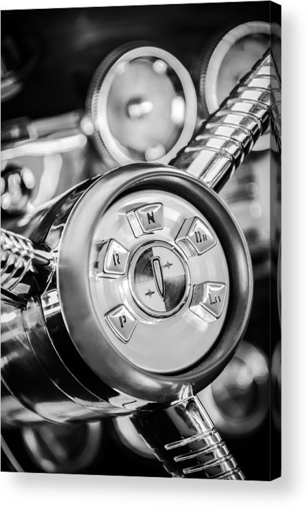 1958 Edsel Ranger Acrylic Print featuring the photograph 1958 Edsel Ranger Push Button Transmission 2 by Jill Reger