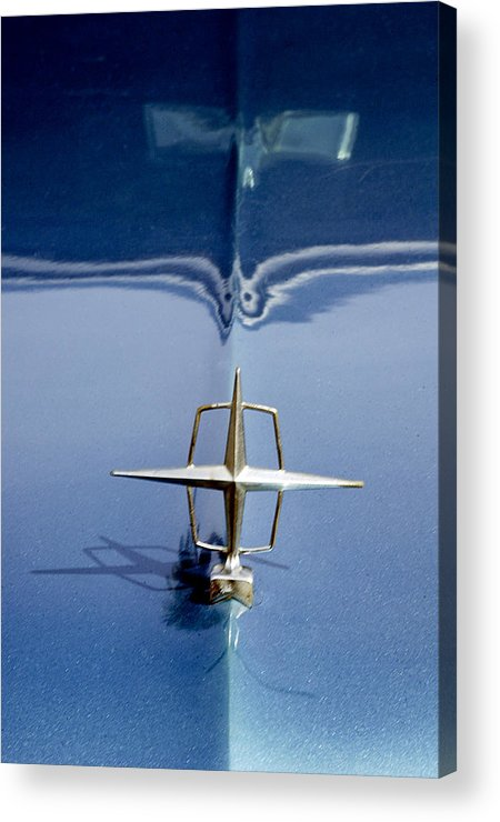 1956 Lincoln Continental Mark Ii Acrylic Print featuring the photograph 1959 Continental Mark II Hood Ornament by Jill Reger