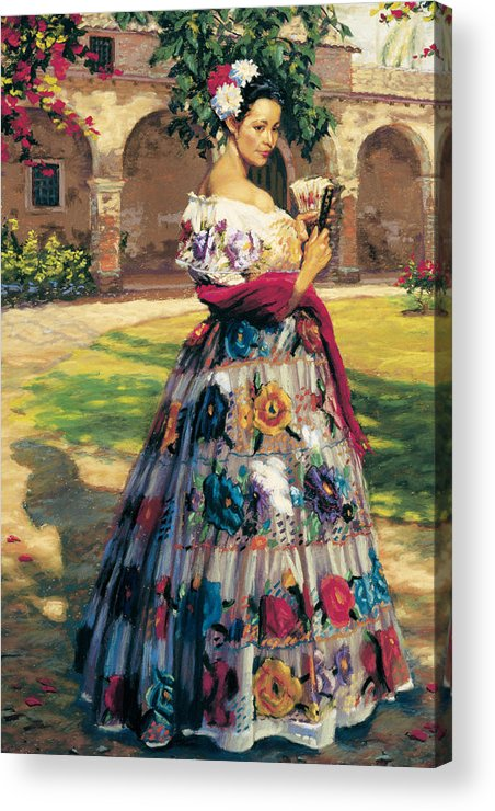 Figure Acrylic Print featuring the painting Al Aire Libre by Jean Hildebrant