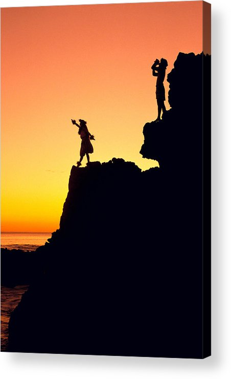 Aloha Acrylic Print featuring the photograph Hula Silhouette by William Waterfall - Printscapes