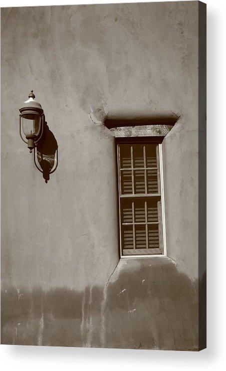 Adobe Acrylic Print featuring the photograph Santa Fe - Adobe Window And Light by Frank Romeo