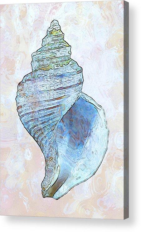 Fish Acrylic Print featuring the digital art Underwater. Sea Shells by Elena Kosvincheva
