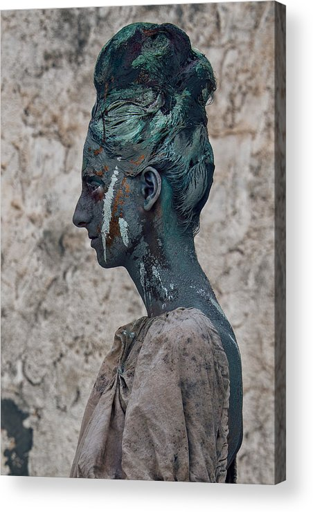 Antik Acrylic Print featuring the photograph Woman In Bronze Statue Look With Patina Body Paint by Veronica Azaryan