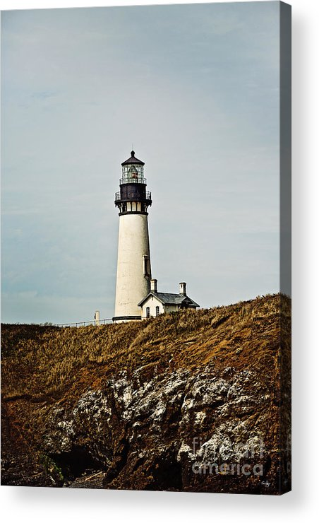 Yaquina Head Lighthouse Acrylic Print featuring the photograph Yaquina Head Lighthouse - Toned By Texture by Scott Pellegrin