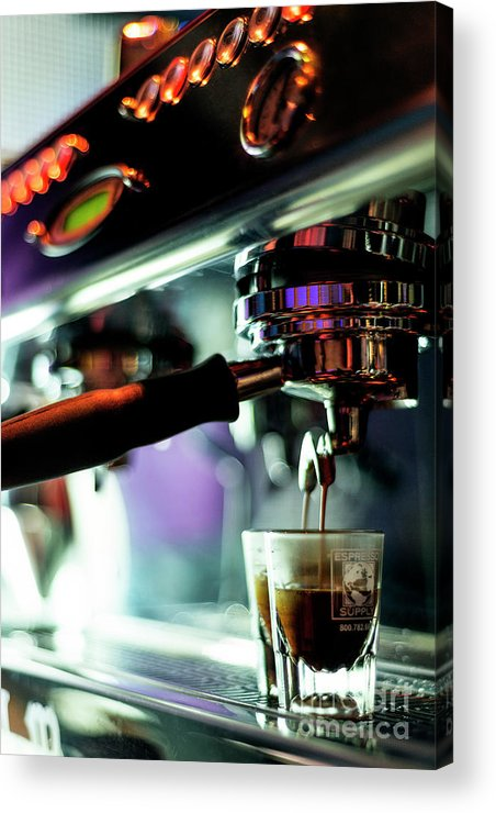 Bar Acrylic Print featuring the photograph Making Espresso Coffee Close Up Detail With Modern Machine by Jacek Malipan