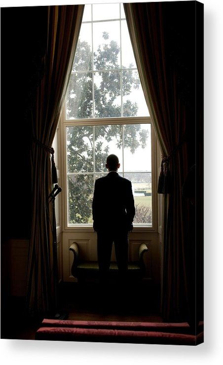 History Acrylic Print featuring the photograph President Barack Obama Looks by Everett