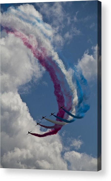 Red Arrows Display Team Over Cleethorpes Acrylic Print featuring the photograph Red Arrows by Stephen Almond
