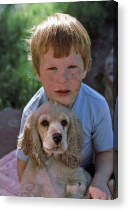 Boy Acrylic Print featuring the photograph A Boy And His Dog With Evidence Of Stolen Brownie by Randy Sprout