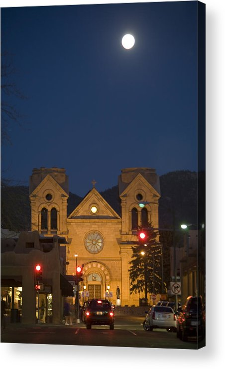 New Mexico Acrylic Print featuring the photograph A Full Moon Rises Over Cathedral by Stephen St. John