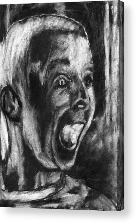 Child Acrylic Print featuring the drawing A True Believer by John Terwilliger