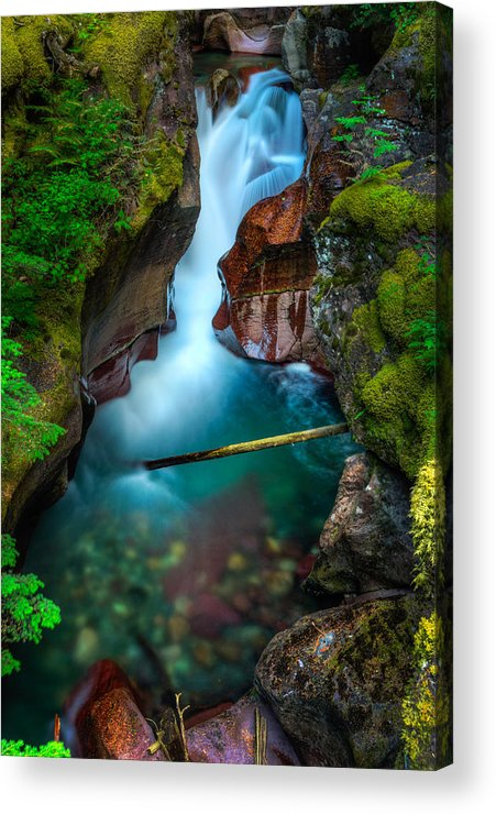 Avalanche Creek Acrylic Print featuring the photograph A V A L A N C H E 14718 by Philip Esterle