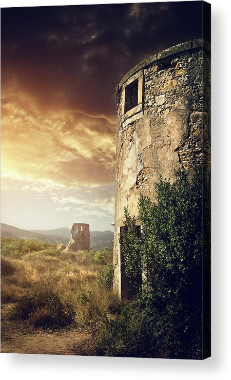 Abandoned Acrylic Print featuring the photograph Abandoned Windmills by Carlos Caetano