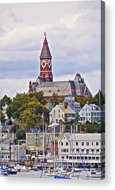 Historic Building Acrylic Print featuring the photograph Abbott Hall From Water View by Ruth H Curtis
