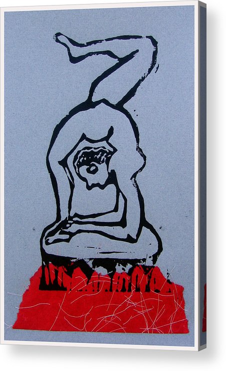 Lino Acrylic Print featuring the mixed media Acrobat 2 by Adam Kissel