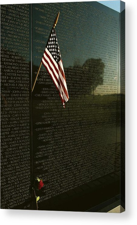 american National Flag Acrylic Print featuring the photograph American Flag Left At The Vietnam by Medford Taylor