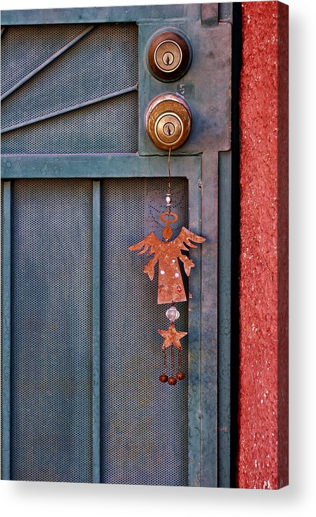 Angel Acrylic Print featuring the photograph Angel At The Door by Carol Leigh