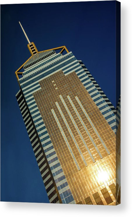 Central Plaza Acrylic Print featuring the photograph Angled View Of Central Plaza At Sunset by Ndp
