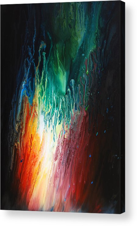 Abstract Energy Ink Acrylic Flow Fluid Poured Acrylic Print featuring the painting Anima by Dion Kurczek