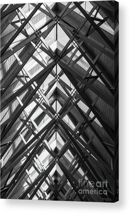 Abstract Acrylic Print featuring the photograph Anthony Skylights Grayscale by Jennifer White