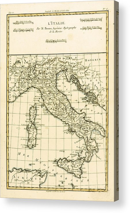 Maps Acrylic Print featuring the drawing Antique Map Of Italy by Guillaume Raynal