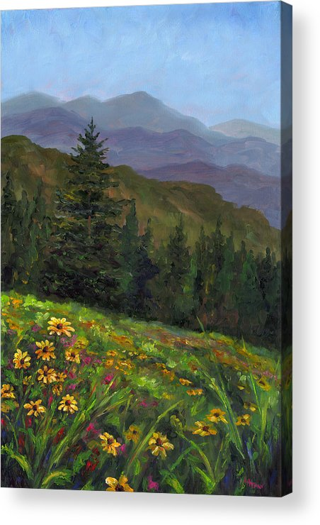 Wildflowers On The Mountain Hillside Of Blue Ridge Mountains Of Western North Carolina Near Ashevill Acrylic Print featuring the painting Appalachian Color by Jeff Pittman