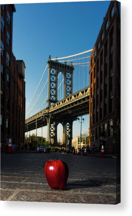 Acrylic Print featuring the photograph Apple On The Streets by Michael Rivera