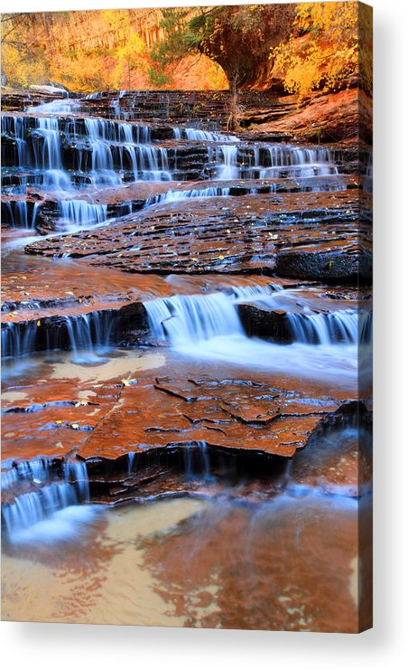 Zion Acrylic Print featuring the photograph Archangel Falls In Zion by Pierre Leclerc Photography
